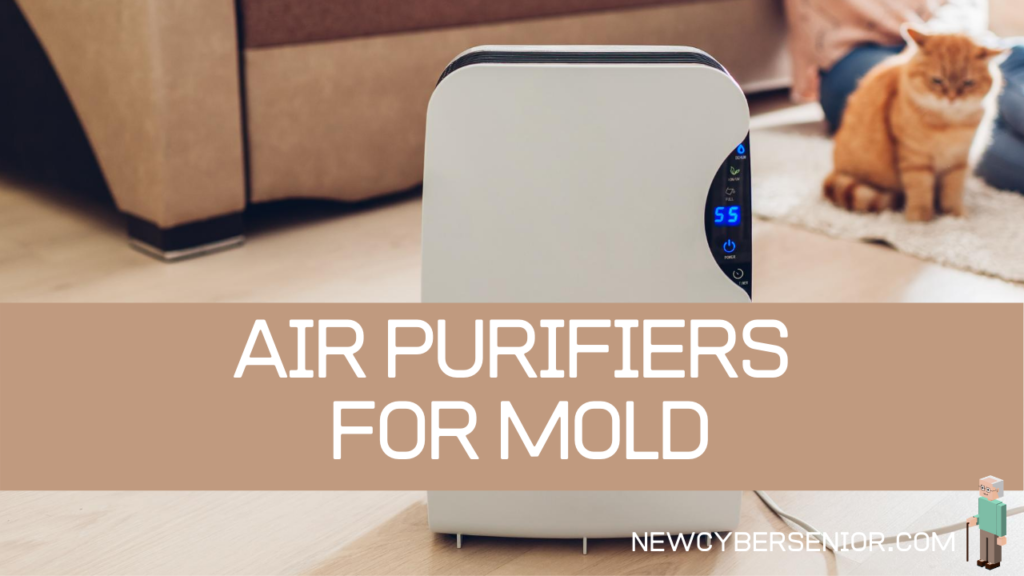 An air purifier in a living room with a cat and a couch in the background