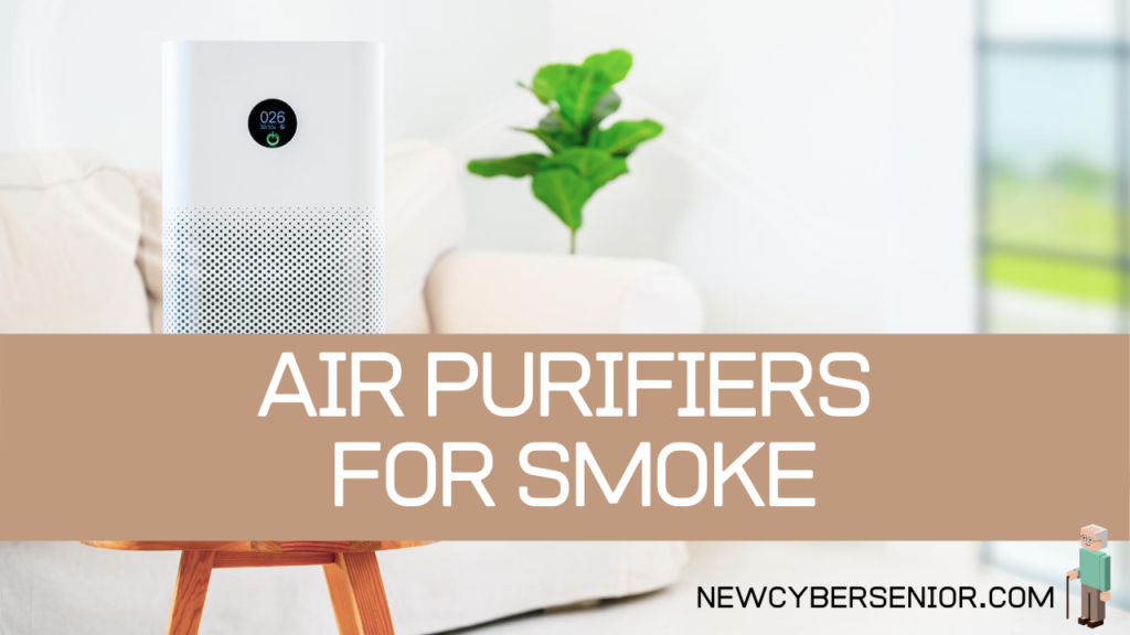 An air purifier in a room next to a window with a plant