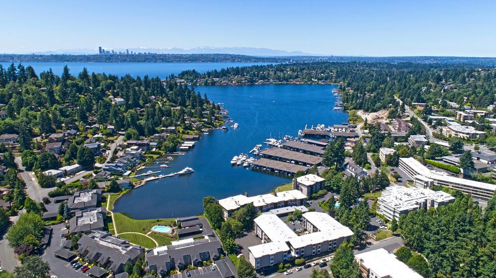 A Marina in Bellevue Washington showing many houses and the blue ocean
