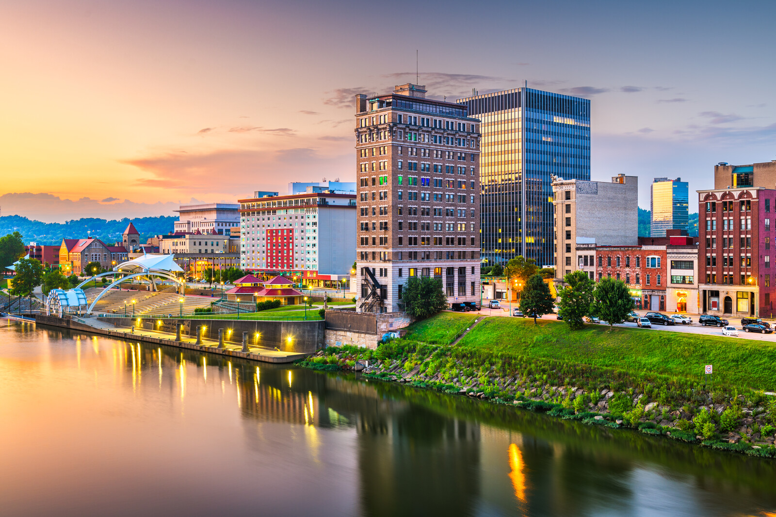 Charleston, west virginia, downtown skyline on the river at dusk.