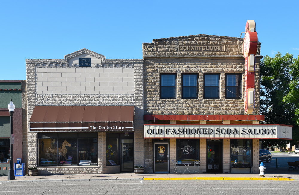 Two old-fashioned buildings in Cody Wyoming