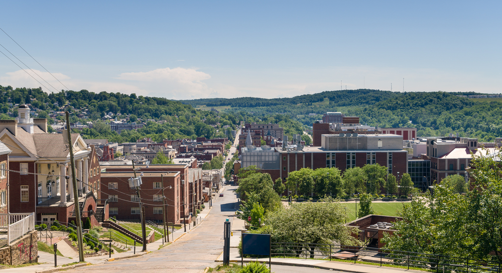 Downtown Morgantown during the day looking down a main street