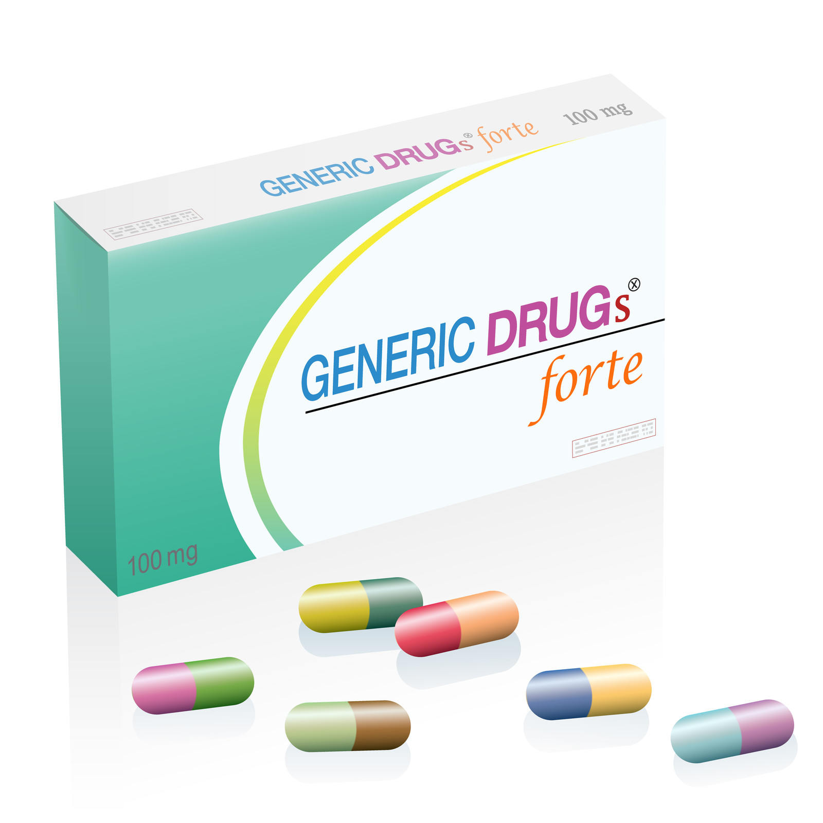 Generic drugs pill box with colorful capsules. Symbolizes harmful counterfeit pills, risk and danger of cheap or illegal produced