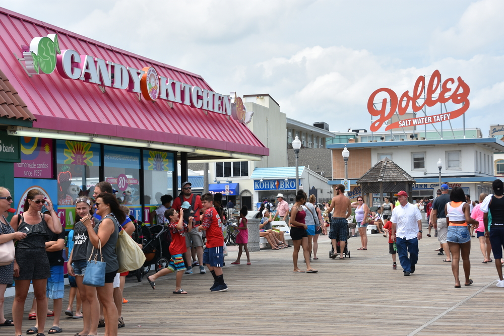 Tourists out and about in Rehoboth Beach