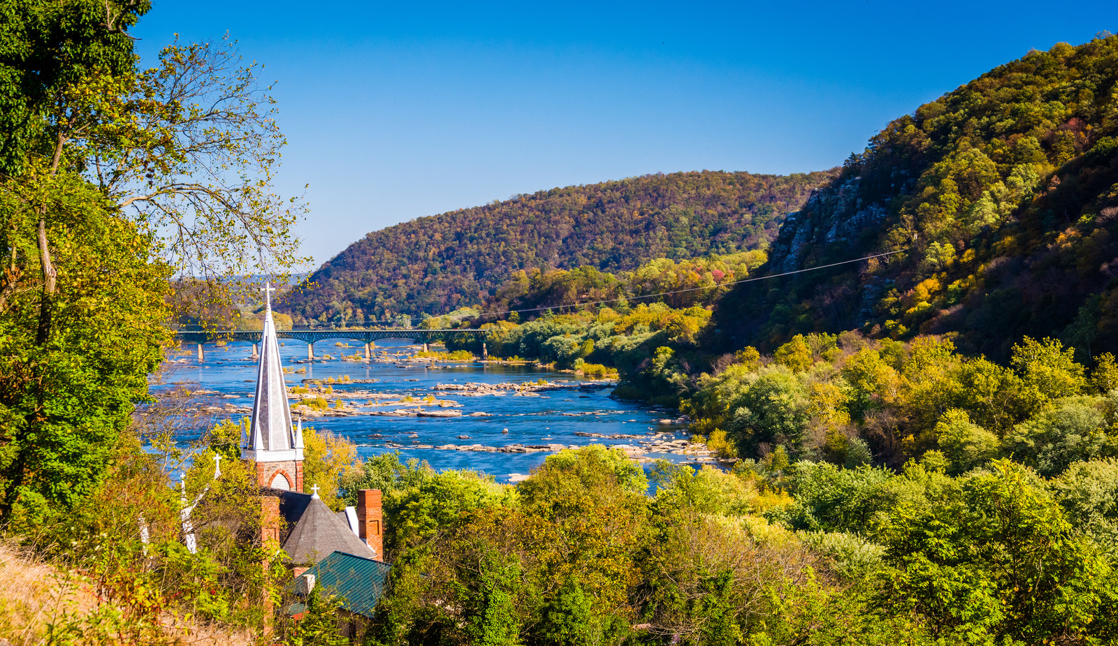 Top 5 Places To Retire in Retire in West Virginia-Sunny day overlooking the Potamac River and St. Peters Roman Catholic church