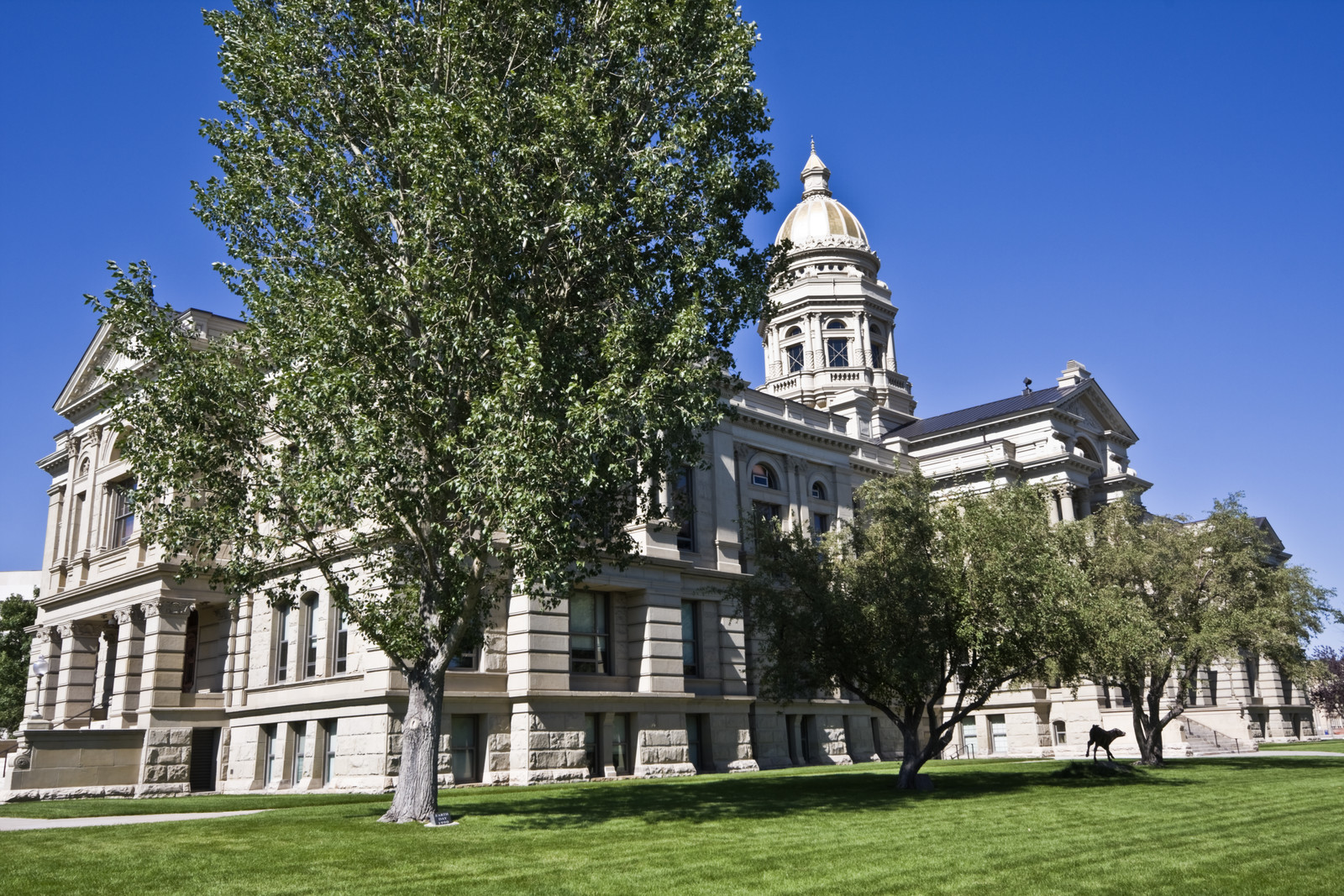 State capital of wyoming in cheyenne with trees and green grass surrounding the capital building