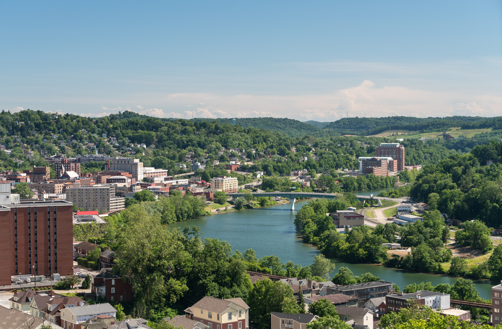 Ariel view of downtown morgantown and the university of west virginia along the Monongahela River