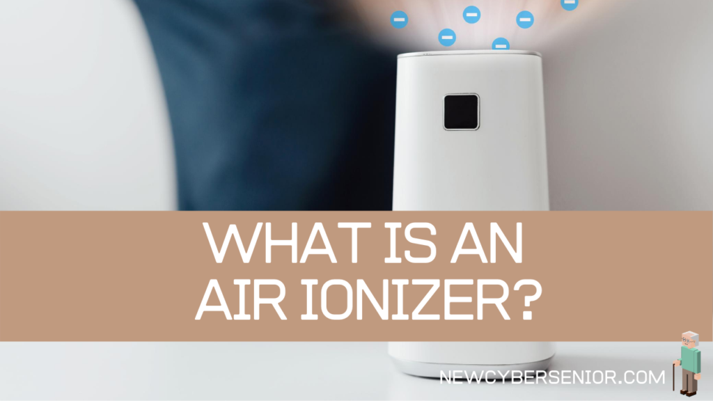 A close up image of an air ionizer in the room, with a visual illustration of ions