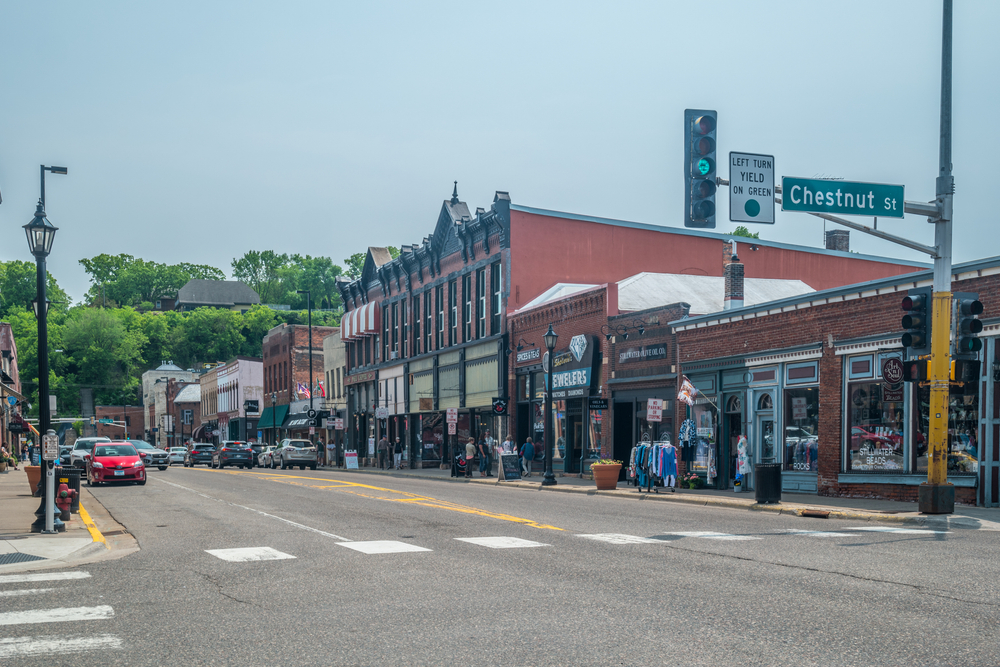 A city street in Stillwater Minnesota with dull colors and few cars