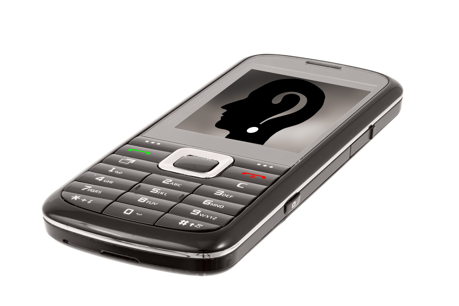 Cell phone with a silloutte of a head with questionmark on it, representing an unknown caller