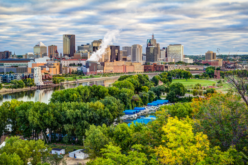 Looking at St. Pauls in Minnesota over a large park and river