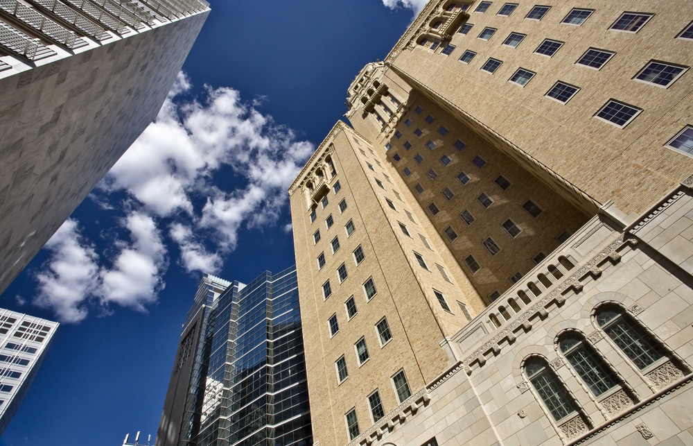 Looking up at the Mayo Clinic in Rochester Minnesota