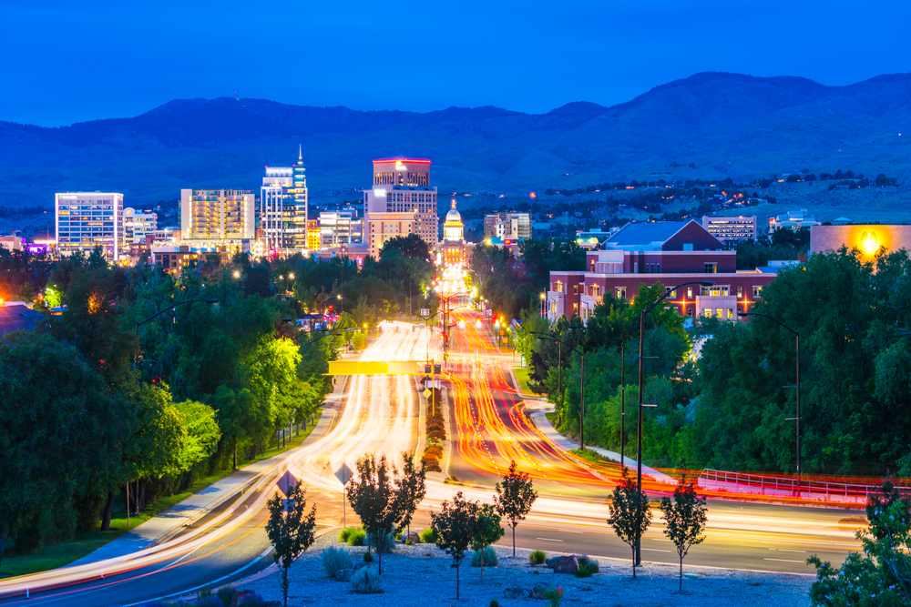 Looking down the main street in Boise Idaho where it is lit up by lights
