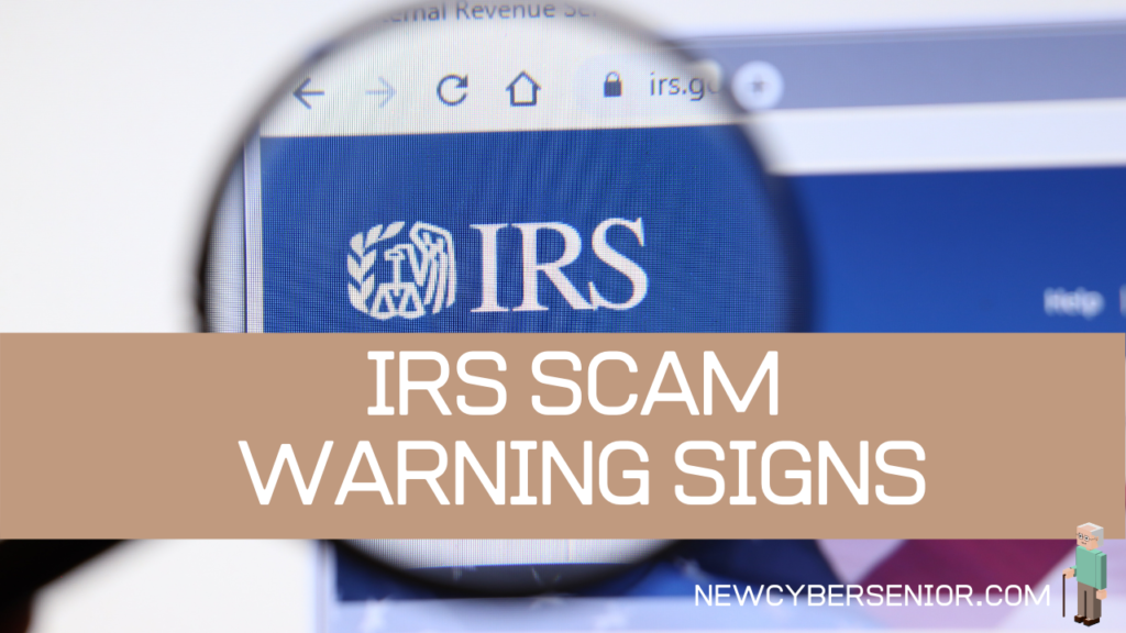 The IRS website on a computer screen with a magnifying glass zooming in on the logo
