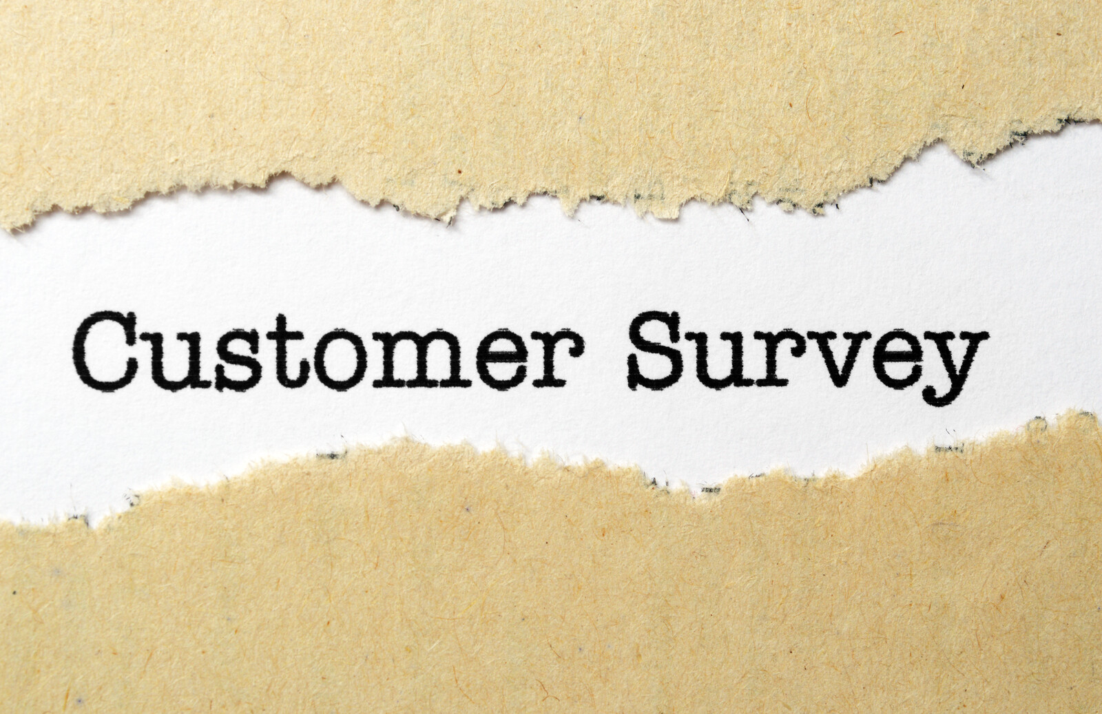 In Type font it says Customer Survey with ripped edges of an envelope on either side of the words