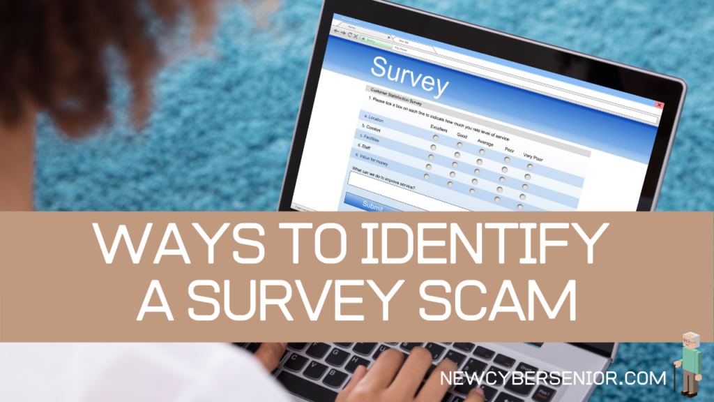A woman using a laptop looking at an online survey scam