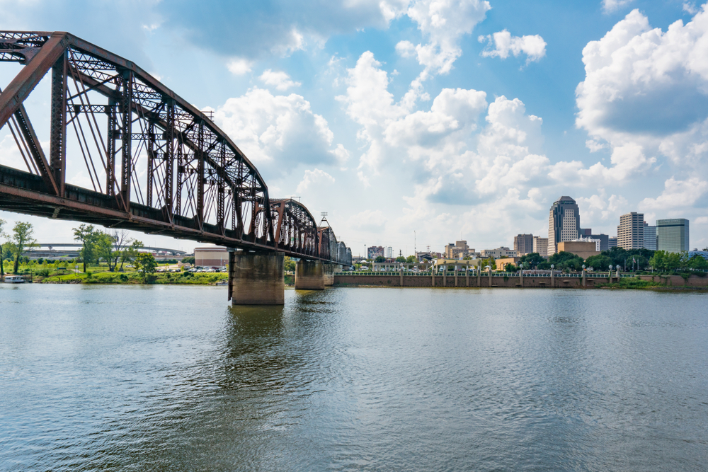 Looking over the river in Shreveport Louisiana with a bridge on the left hand side and buildings on the far side of the river