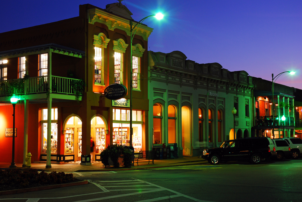 The Square books store in Oxford Mississipi all lit up at night