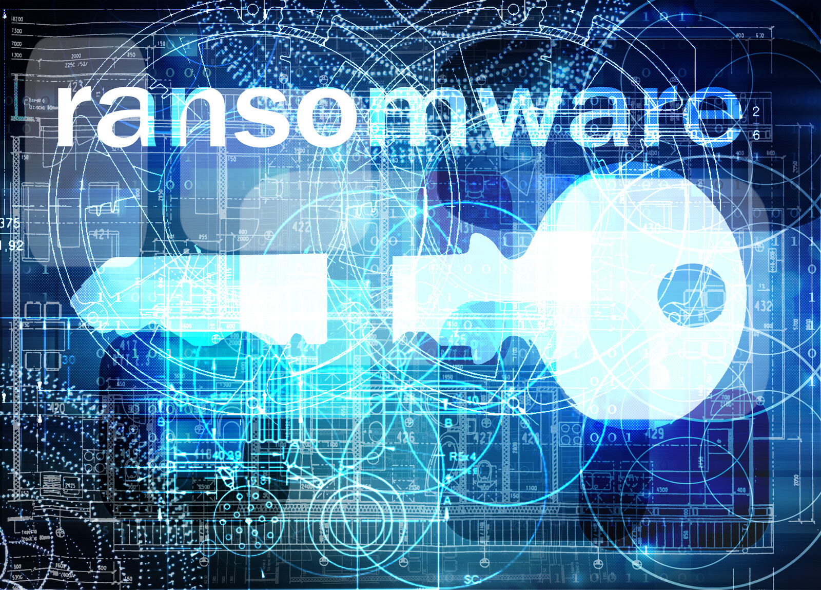 Blue Digital image with computer data layered on top of each other as the background and large key broken in the middle overlaying the top with ransomware written in bold white letters at the top
