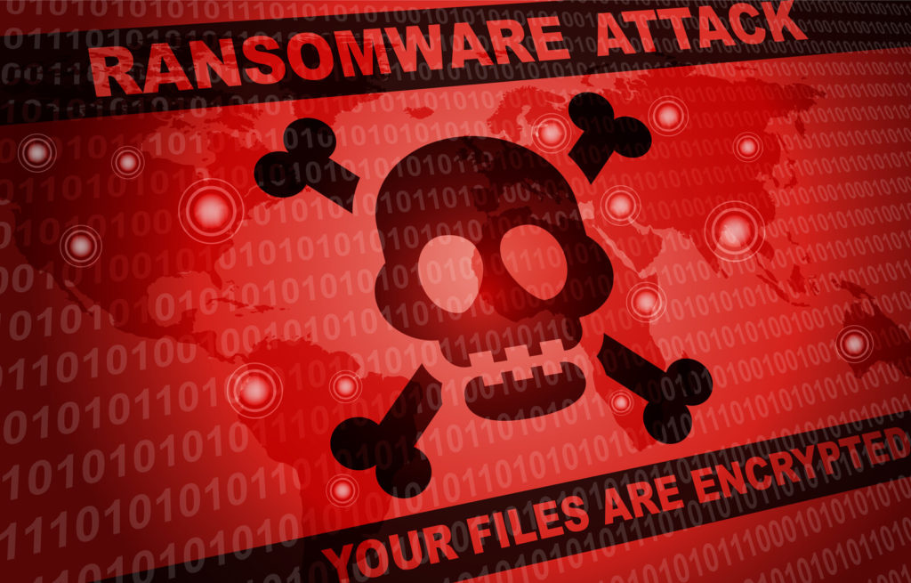 Ransomware Scams - Digital Skull and Crossbones on a red background with a top banner that says in Ransomware Attack in all capital letters and the bottom banner says Your Files are encrypted
