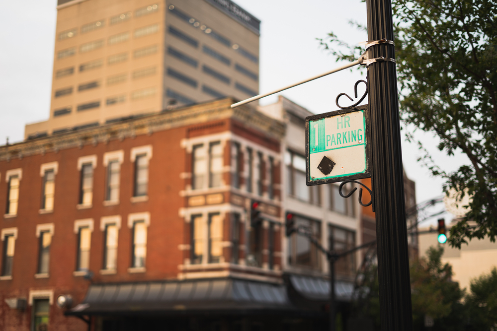 Downtown in Evansville Indiana showing a lampost and an out-of-focus old-fashioned building