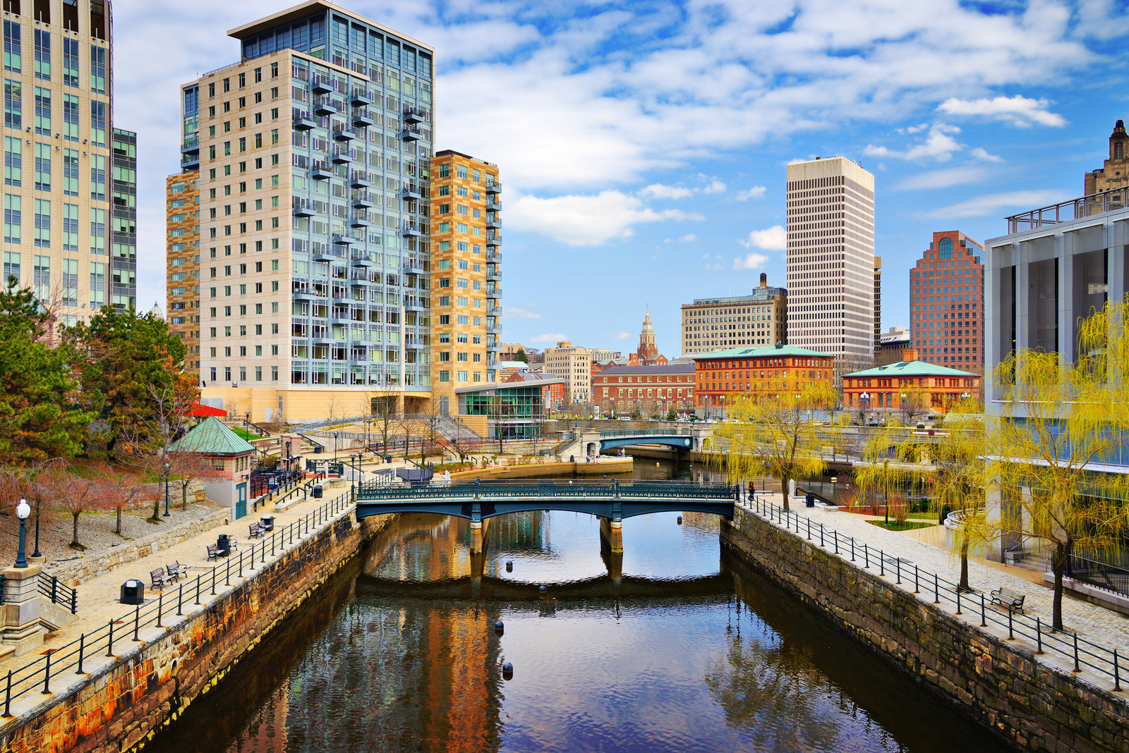 View of waterplace park in downtown Providence, featuring the waterway, footbridges, and walkways