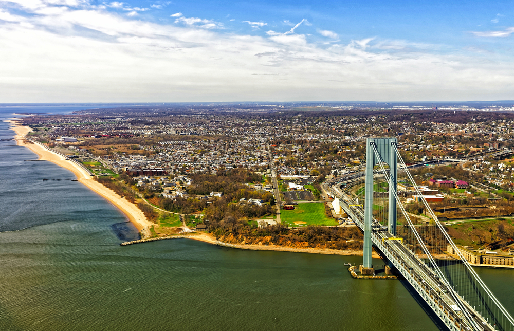 The bridge to Staten Island and the island on a sunny day