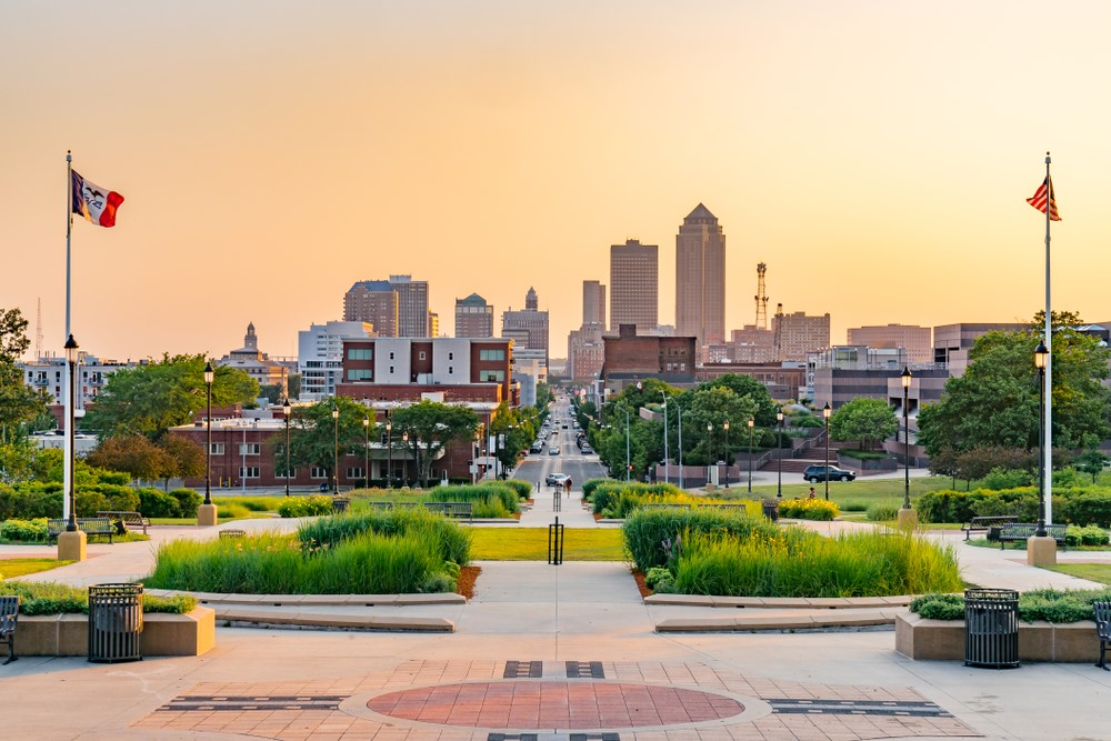 Looking out onto the city in Des Moines Iowa