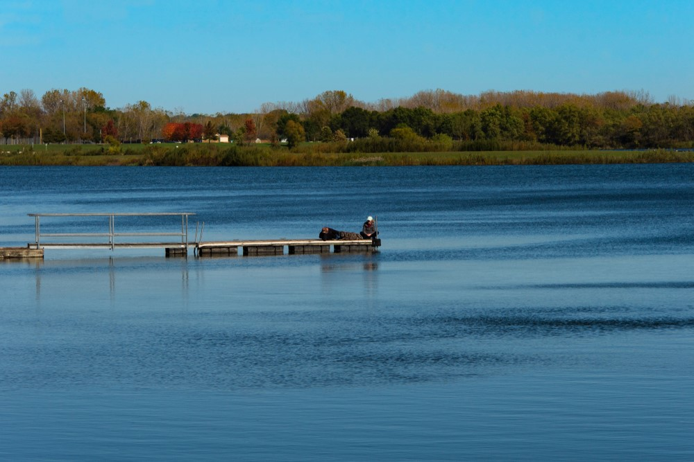 A couple on a lake in West Des Moines