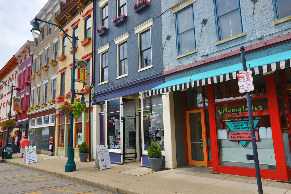 A market in the historic district of Cincinnati showing colorful storefronts
