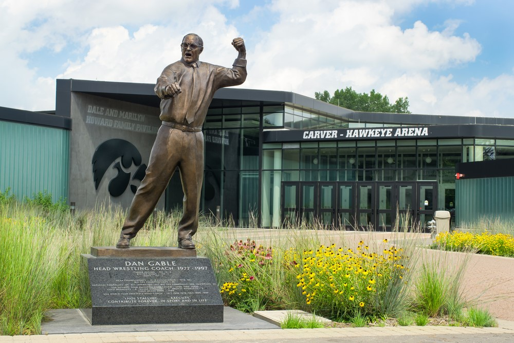 A statue in Iowa city with an athletic man