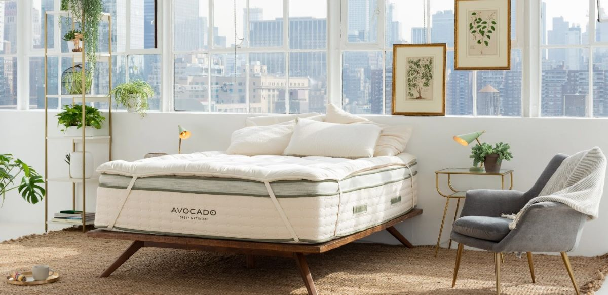 Avocado brand mattress and mattress topper on a open bed frame in front of a wall of windows.