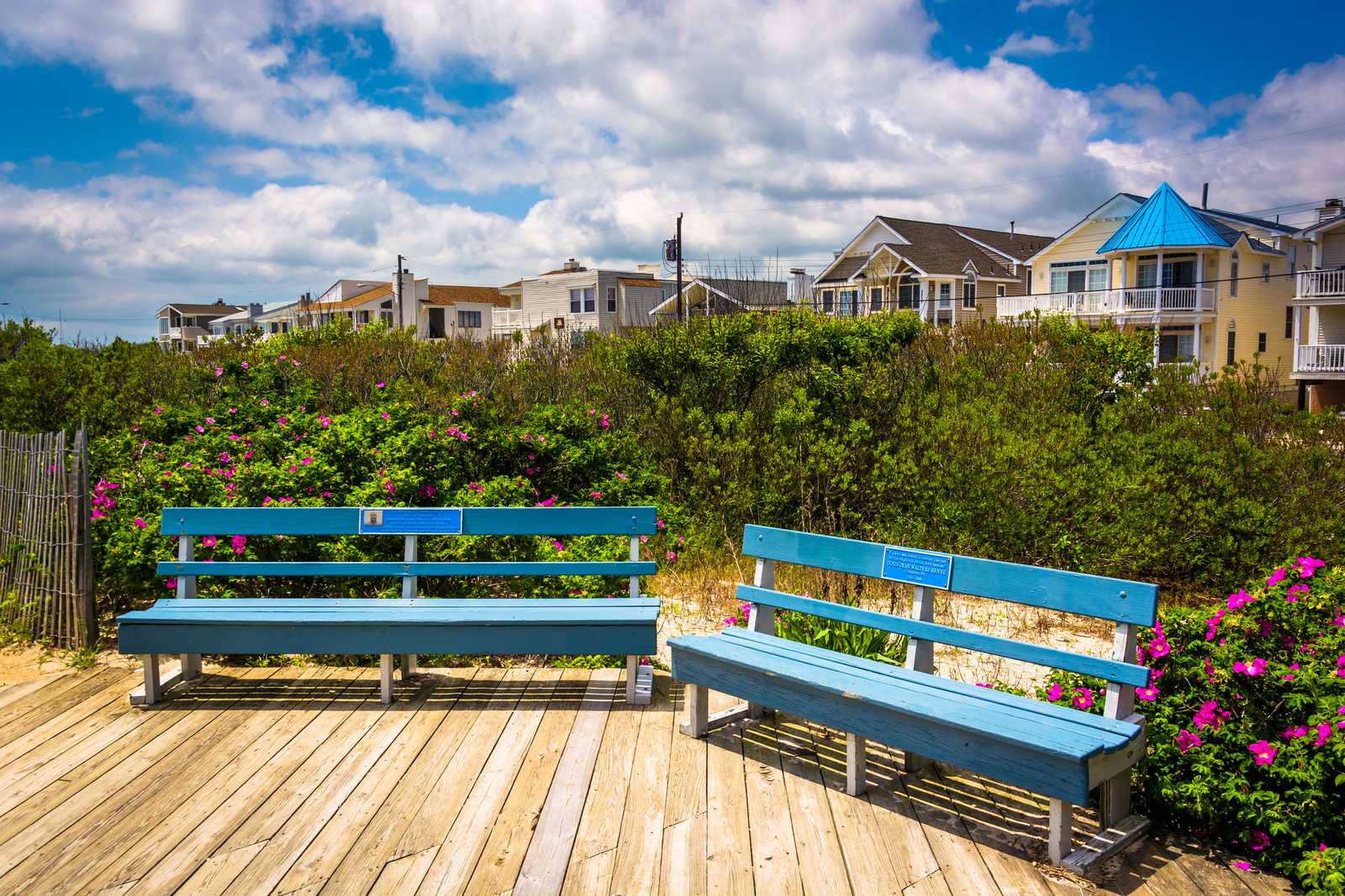 Photo of Beach houses in ocean city, new jersey from a boardwalk with blue benches on a sunny day blue skies and white billowy clouds