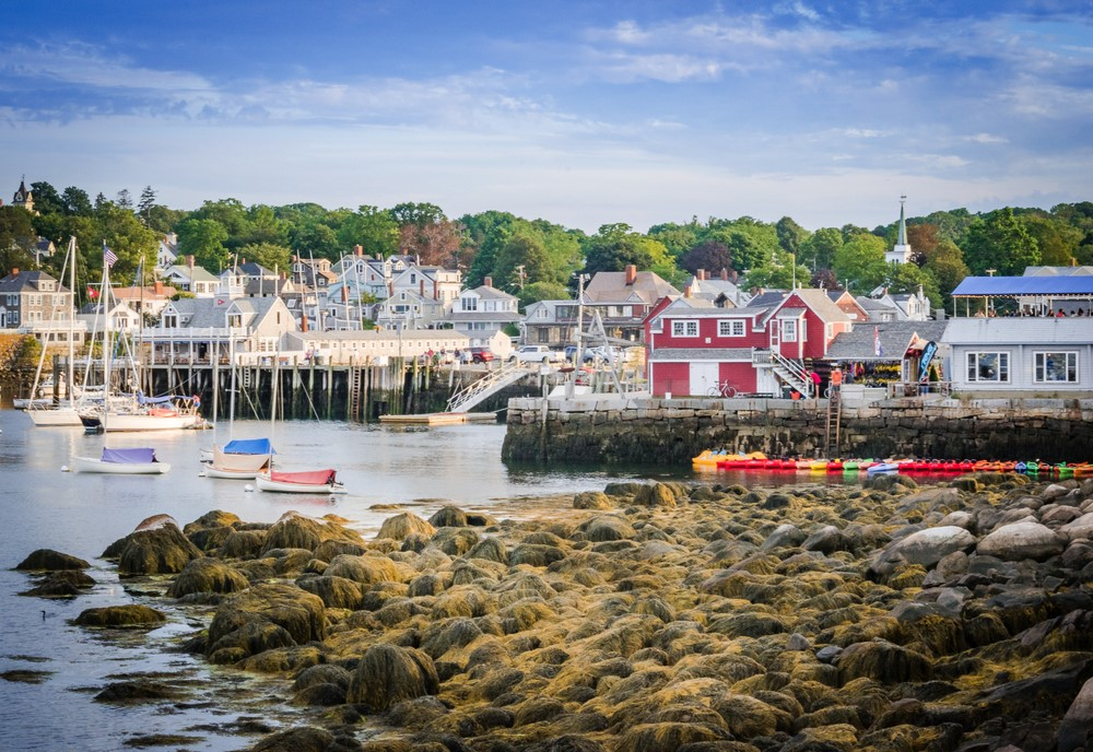 The harbor in Rockport Massachusetts showing colorful buildings and boats