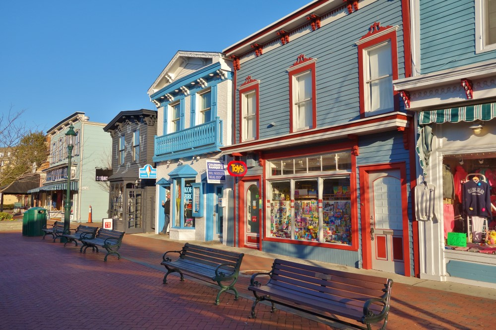 Vibrant buildings in Cape May New Jersey against a bright blue sky