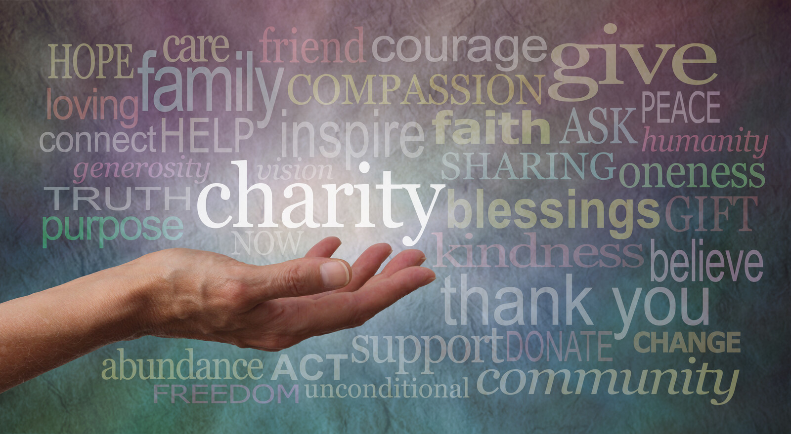 Woman's outstretched hand with the word 'charity' in white above palm, surrounded by a word collage