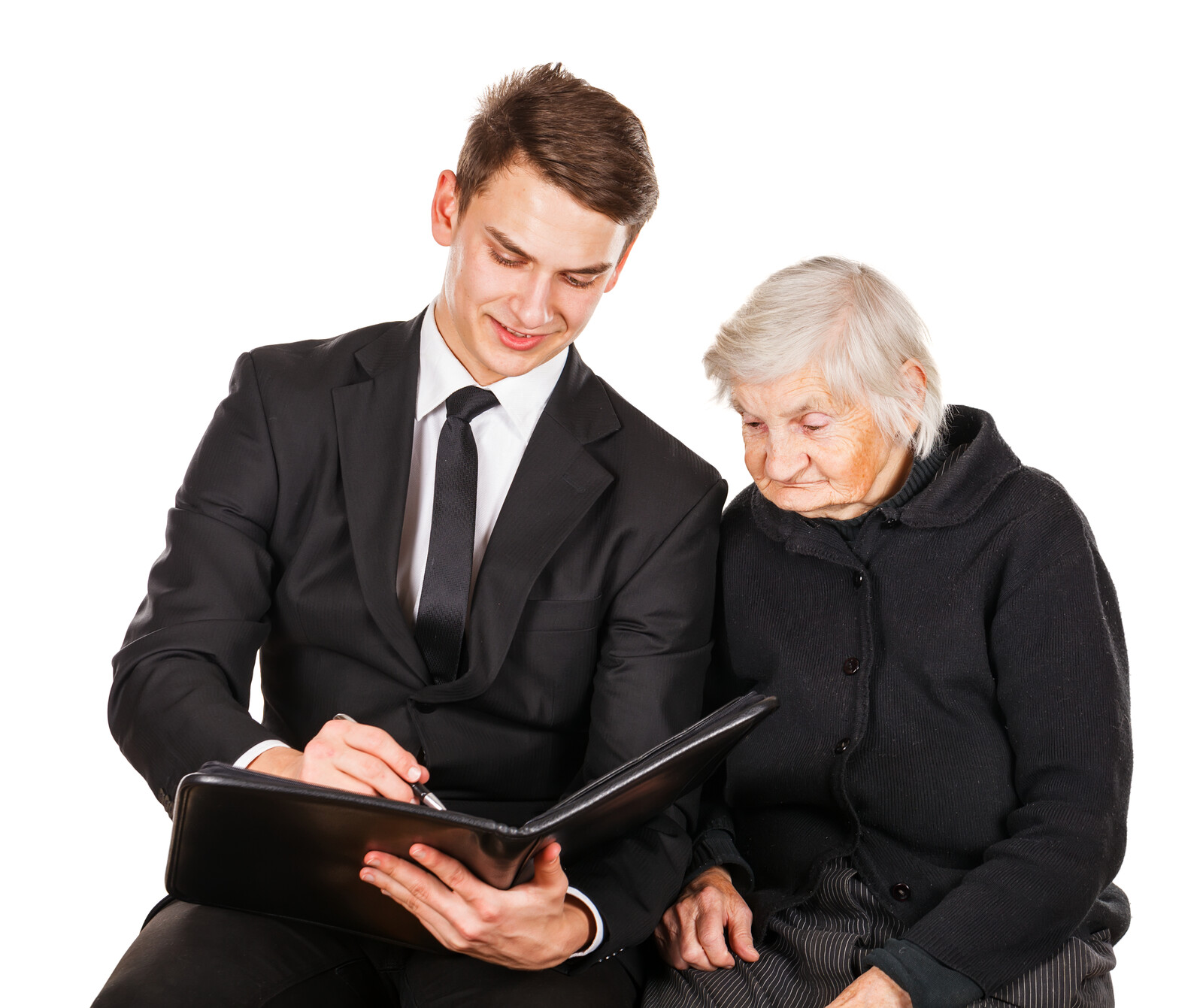 Young business man talking with a senior woman over a contract