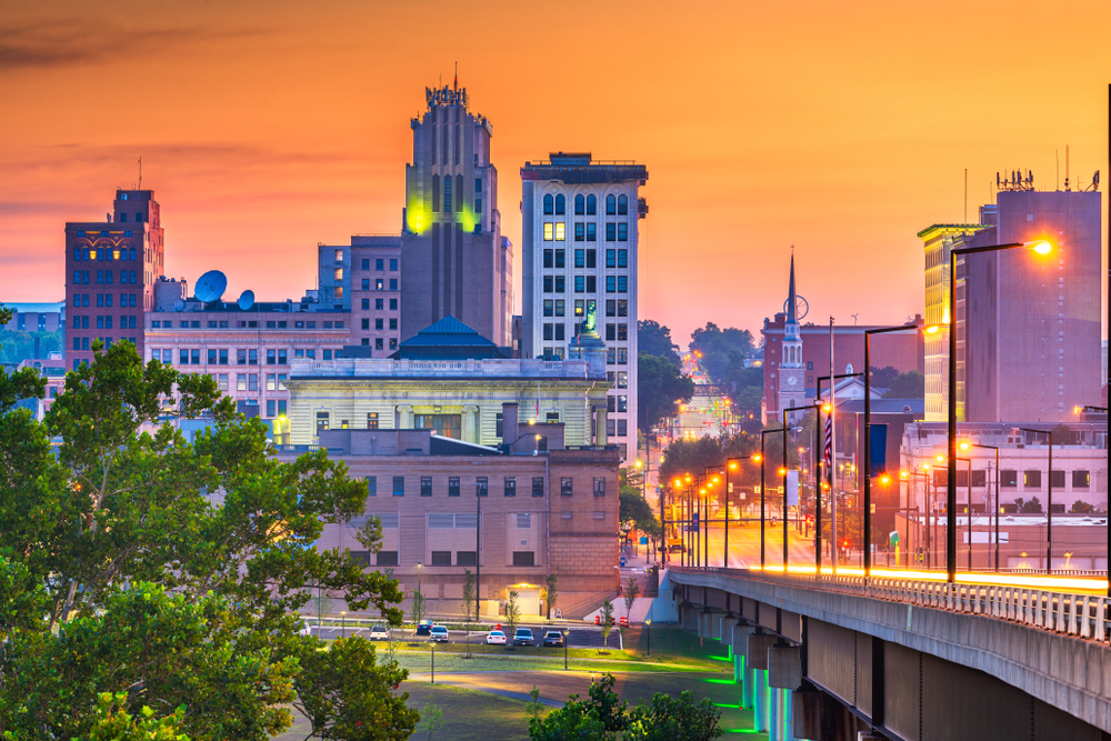 Youngstown Ohio looking over the bridge during twilight