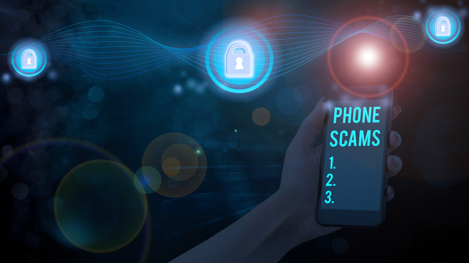 Telemarketing Scams All Seniors Need to Know About Now- conceptual photo with a hand holding a cell phone that shows text that says Phone Scams 1,2,3