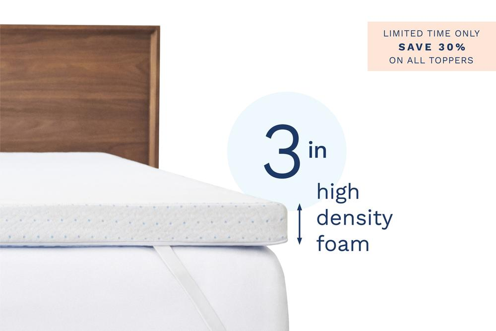 Visco mattress topper with corner straps on top of a bed with a wood headboard. The photo has text that says 3 in high density foam and Limited time only save 30% on all toppers