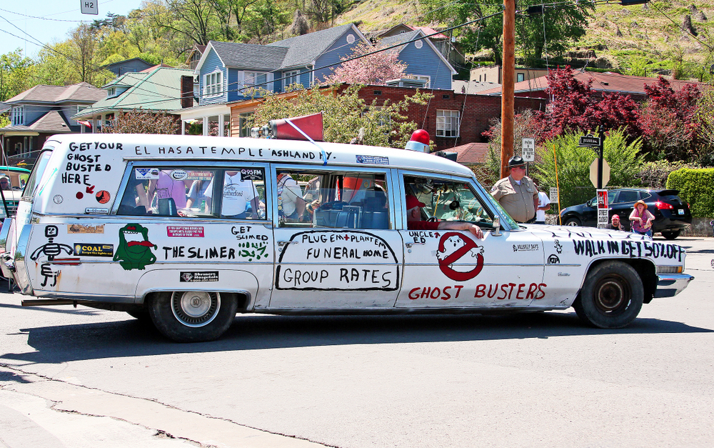 A Ghostbusters-style vehicle in Pikeville Kentucky for a parade