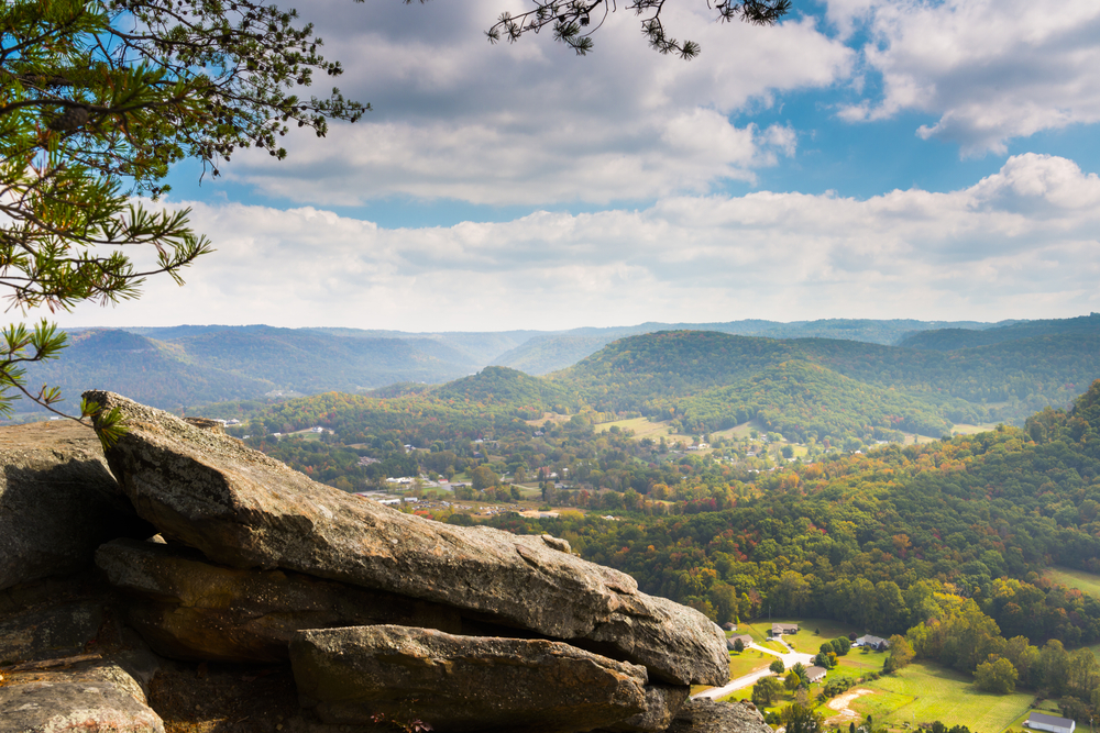 A mountain outlook in Berea Kentucky where the city is hard to see