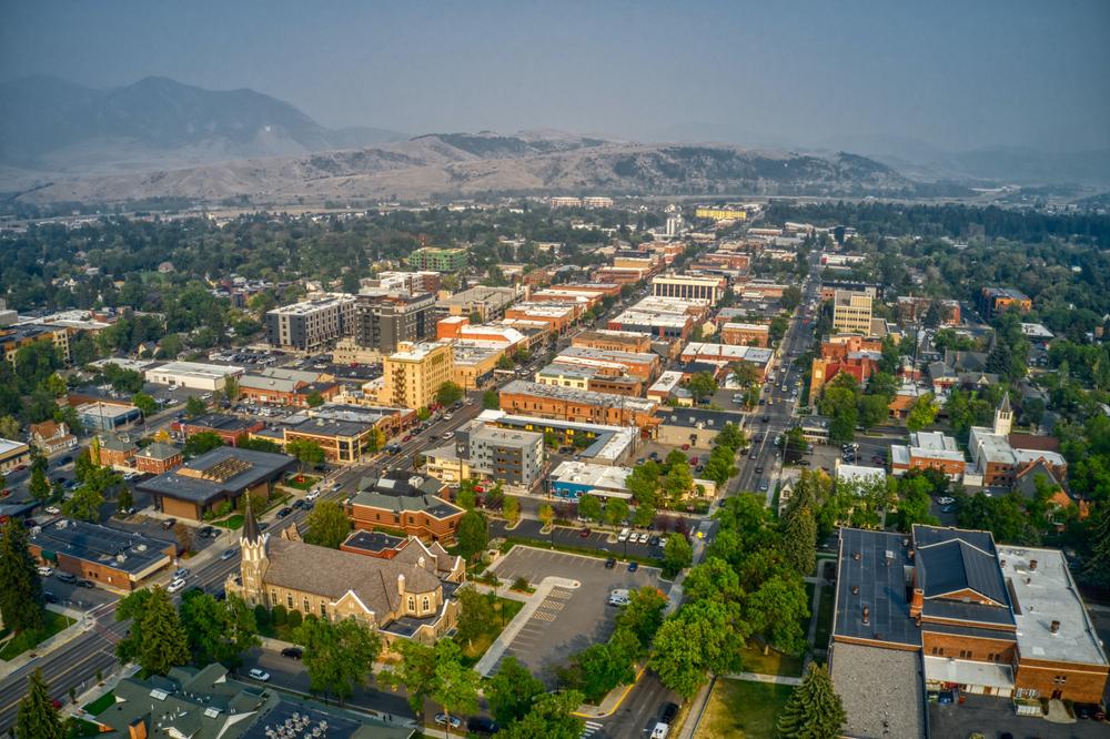 An aerial shot of downtown Bozeman Montana in the summer