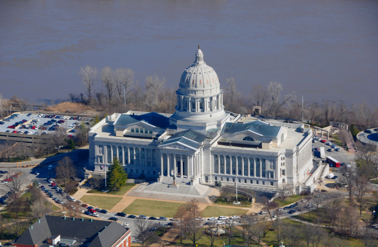 Ariel View of the Capital Building of Missouri in Jefferson City along the Missouri River