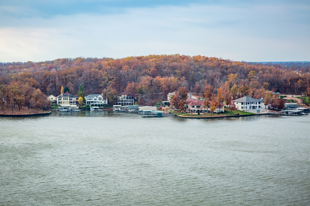 Looking out across Lake Ozark at a housing community