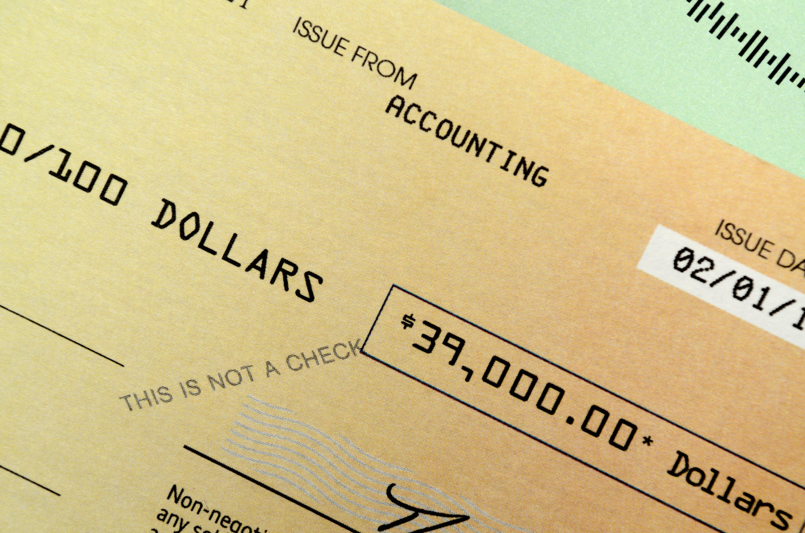 Promotional fake check for 39 thousand dollars