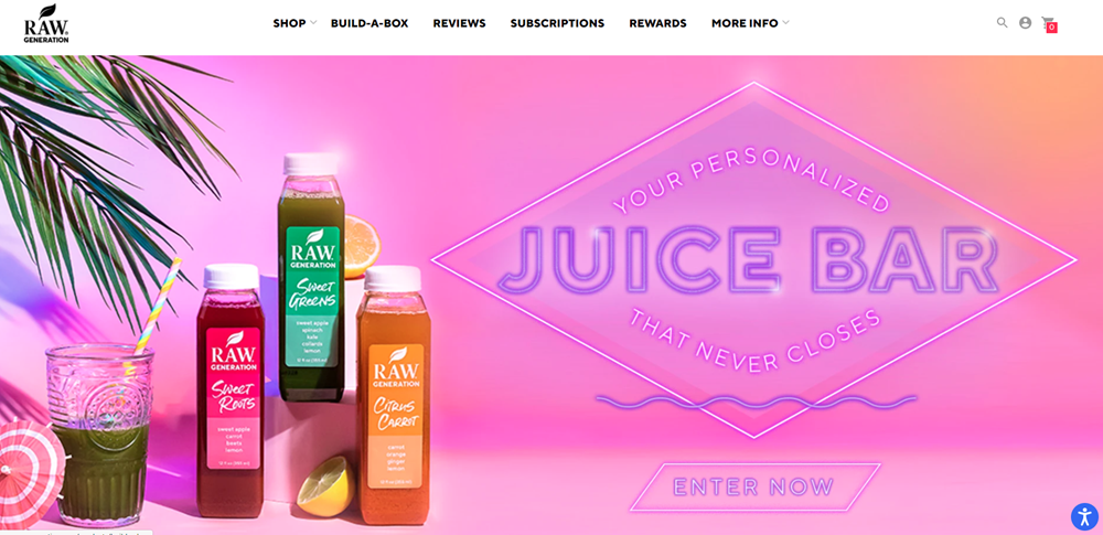 A screenshot from the Raw Generation website showing small bottles of juice against a pink sky