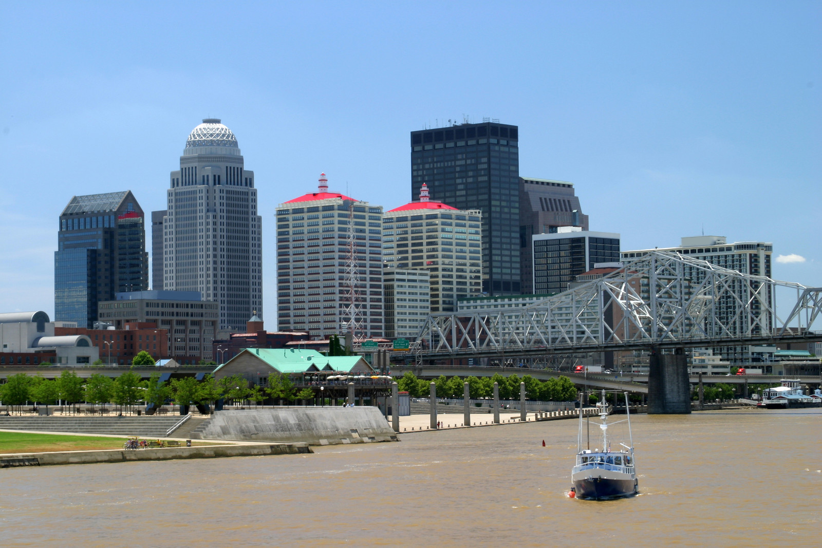 Sunny day with blue skies over Louisville skyline, photo taken from the Ohio River just past the bridge