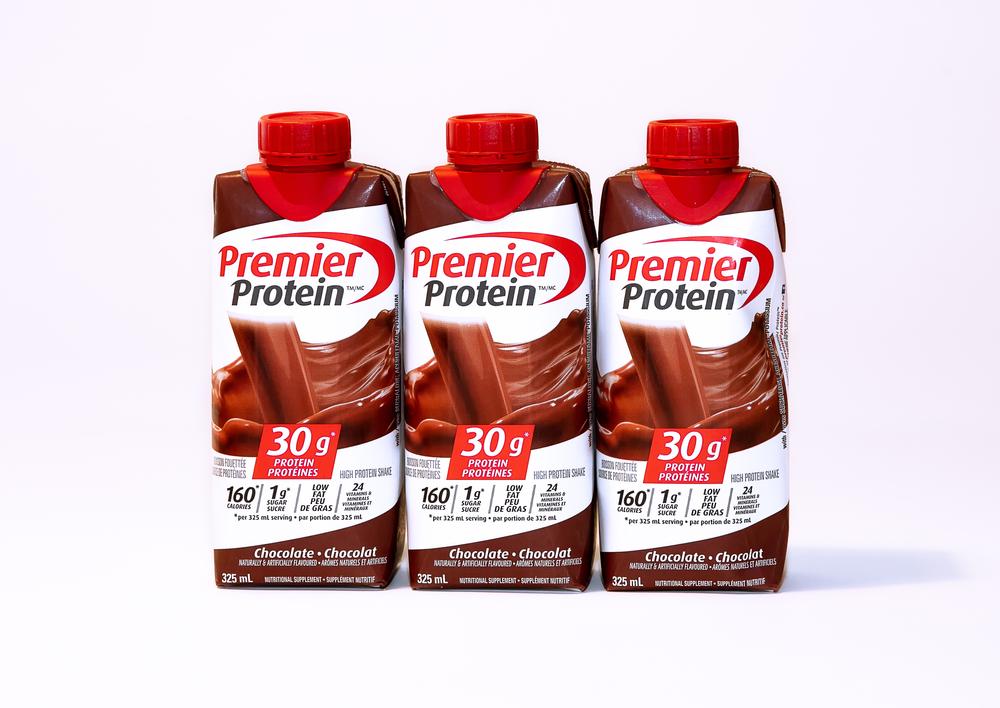 Three bottles of chocolate Premier Protein shake