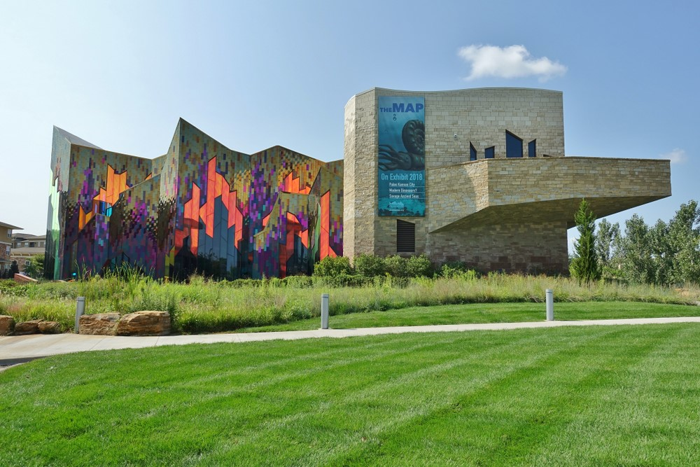 A museum in the Overland Park suburb of Kansas City with a brightly colored section and one that is more conventional